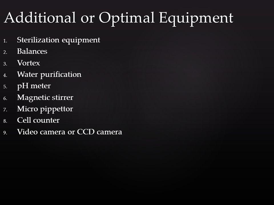1. Sterilization equipment 2. Balances 3. Vortex 4.