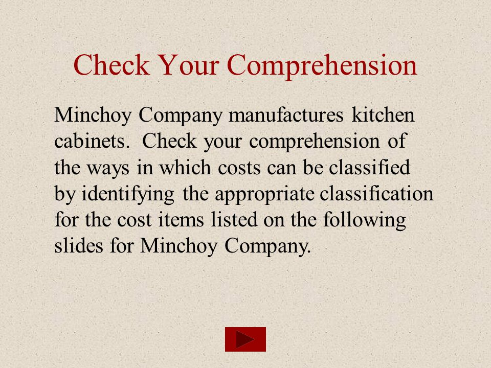 Check Your Comprehension Minchoy Company manufactures kitchen cabinets. Check your comprehension of the ways in which costs can be classified by ident