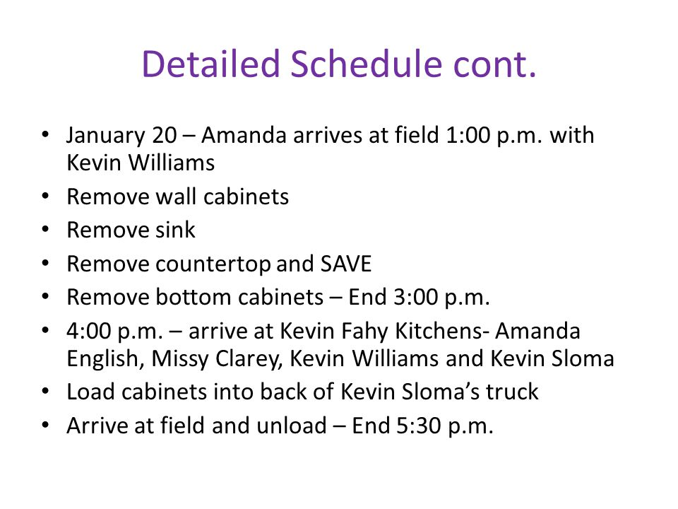 Detailed Schedule cont. January 20 – Amanda arrives at field 1:00 p.m.