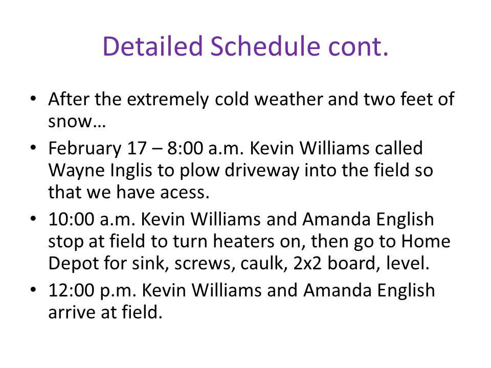 Detailed Schedule cont.
