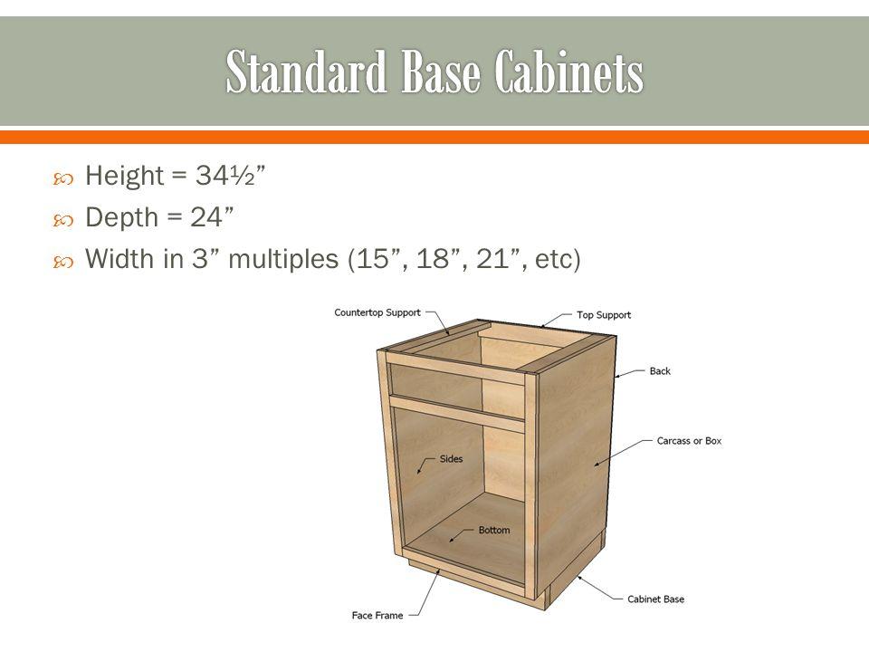 Height = 34½ Depth = 24 Width in 3 multiples (15, 18, 21, etc)