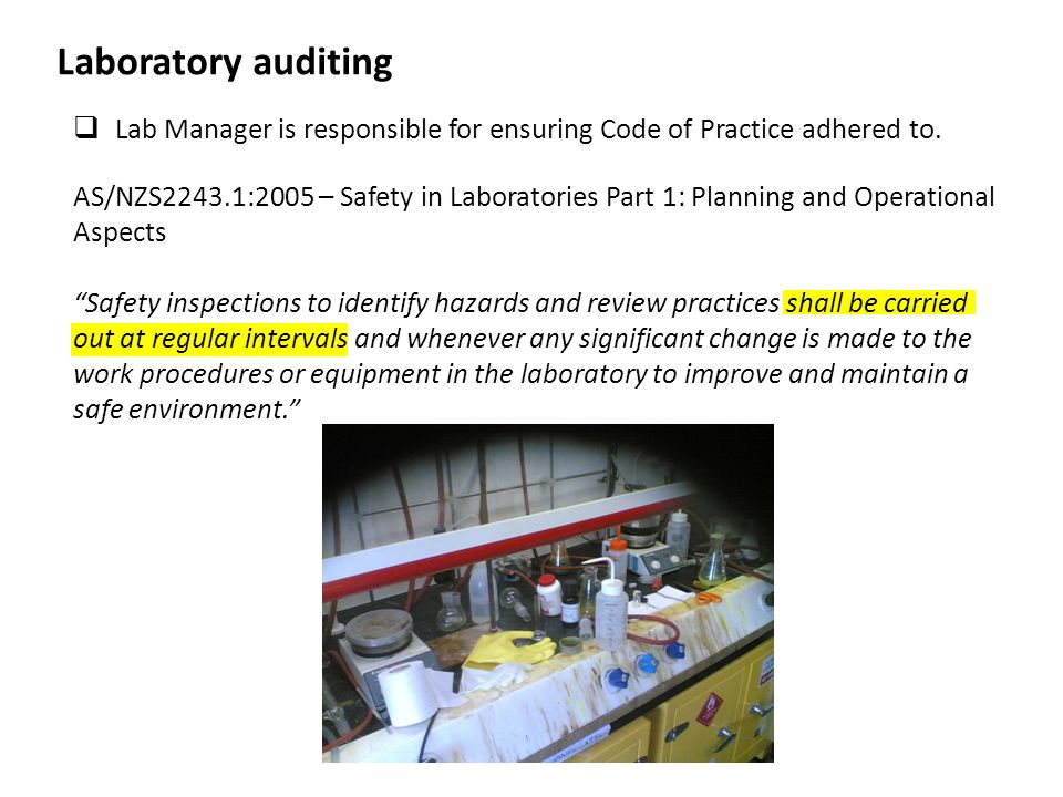 MAF/IBSC Audits PC1 and PC2 areas routinely audited with respect to Biological Compliance New Organisms (e.g.