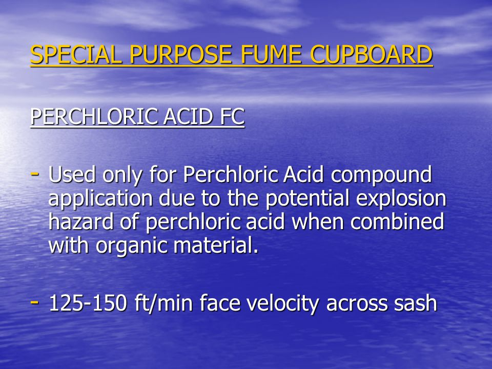 SPECIAL PURPOSE FUME CUPBOARD RADIOISOTOPE FUME CUPBOARD - Used for radioactive applications.