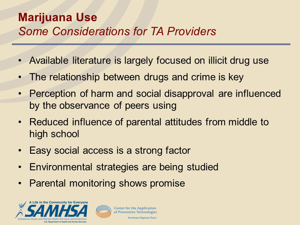 Marijuana Use Some Considerations for TA Providers Available literature is largely focused on illicit drug use The relationship between drugs and crim