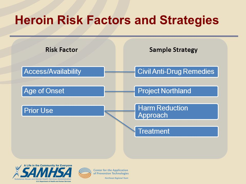 Project Northland Harm Reduction Approach Civil Anti-Drug Remedies Risk Factor Sample Strategy Access/Availability Prior Use Age of Onset Heroin Risk