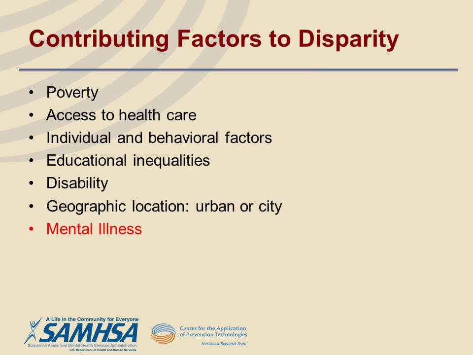 Contributing Factors to Disparity Poverty Access to health care Individual and behavioral factors Educational inequalities Disability Geographic locat