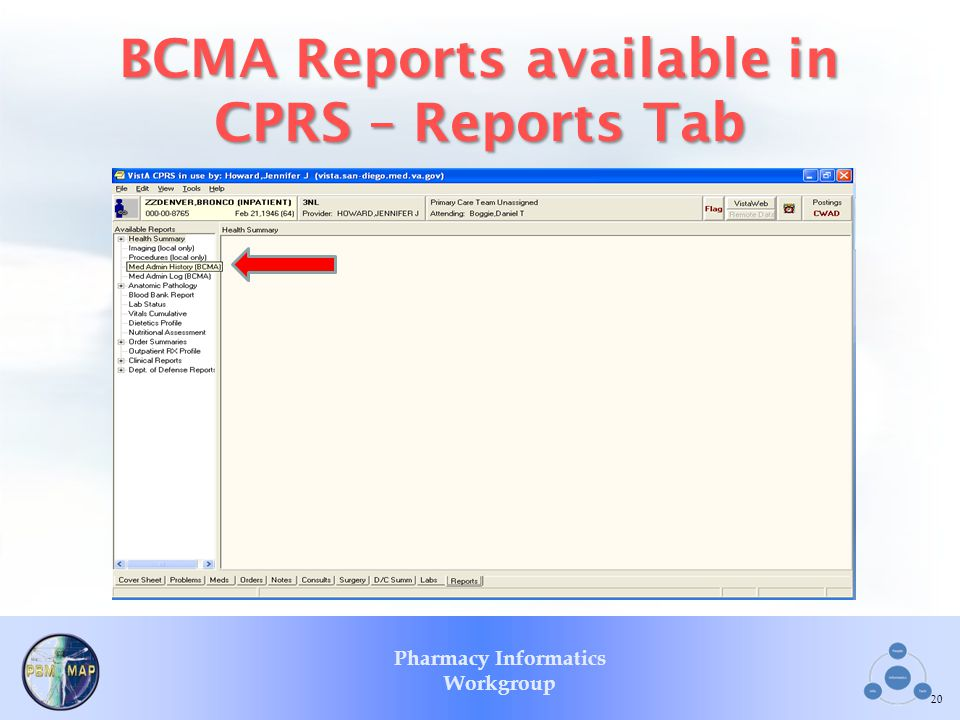 Pharmacy Informatics Workgroup BCMA Reports available in CPRS – Reports Tab 20