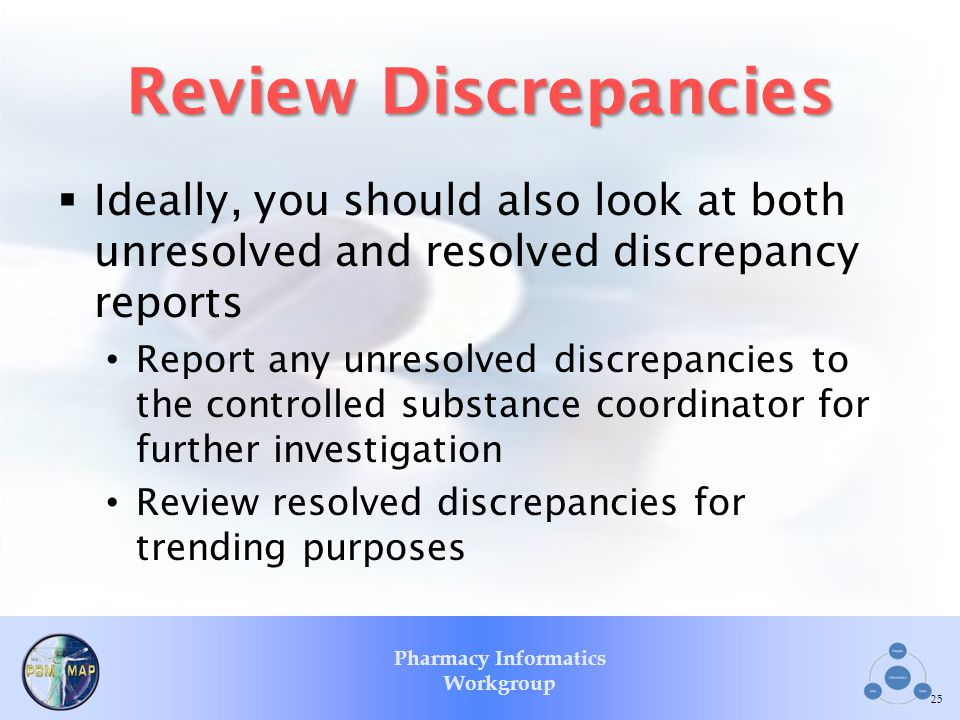 Pharmacy Informatics Workgroup Review Discrepancies Ideally, you should also look at both unresolved and resolved discrepancy reports Report any unres