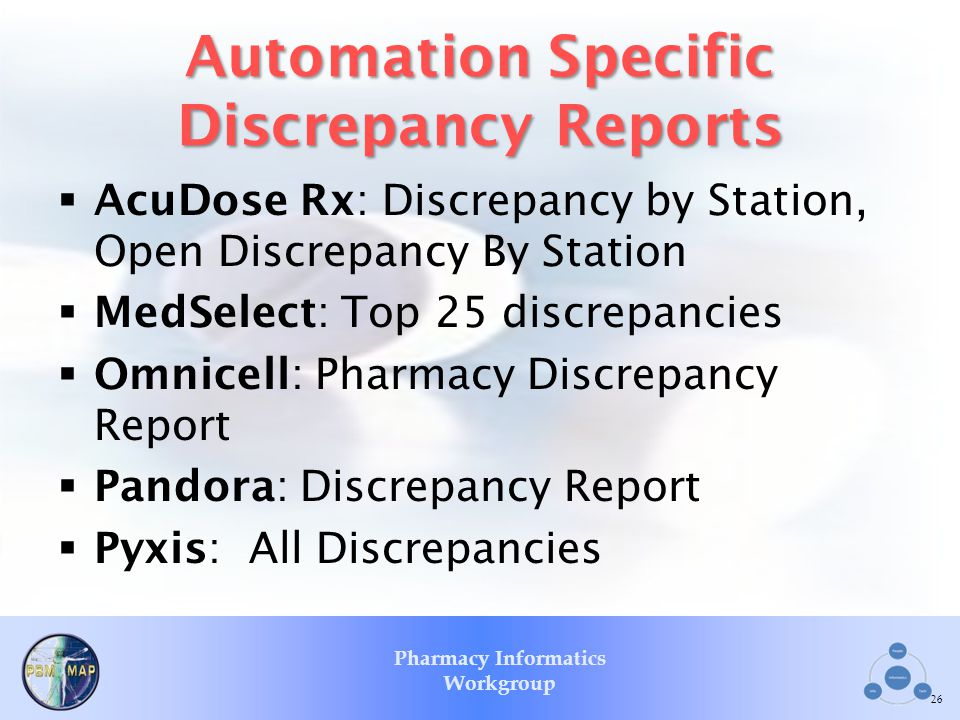 Pharmacy Informatics Workgroup Automation Specific Discrepancy Reports AcuDose Rx: Discrepancy by Station, Open Discrepancy By Station MedSelect: Top