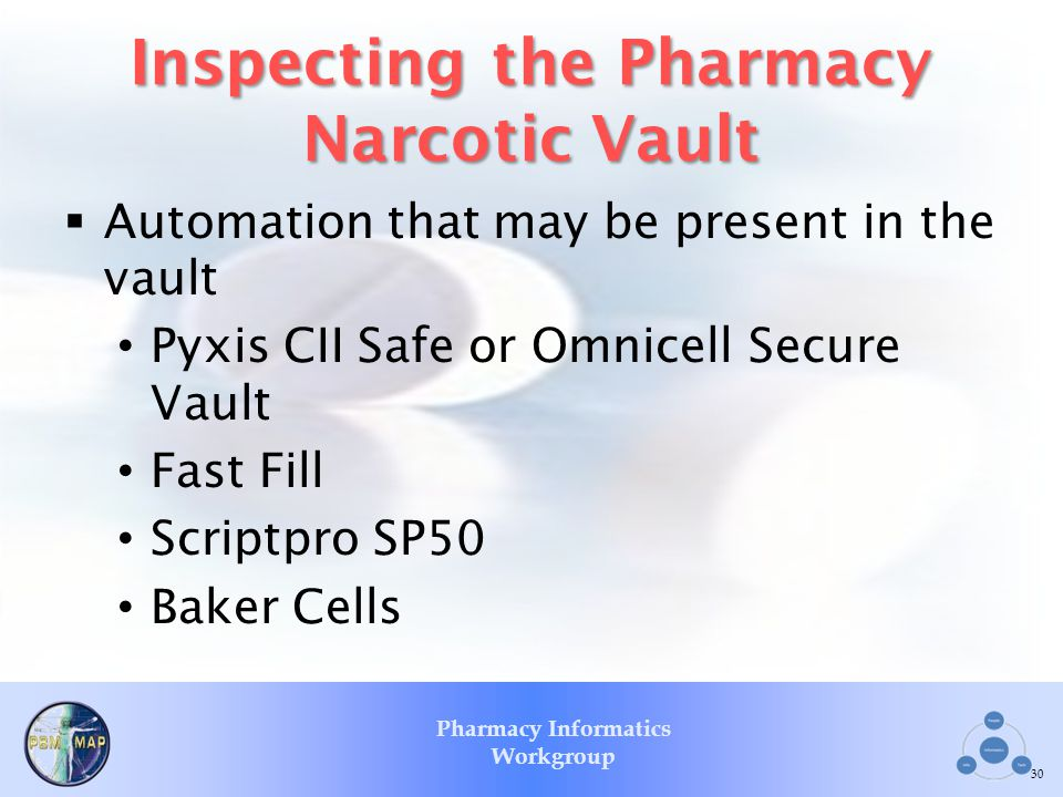 Pharmacy Informatics Workgroup Inspecting the Pharmacy Narcotic Vault Automation that may be present in the vault Pyxis CII Safe or Omnicell Secure Va