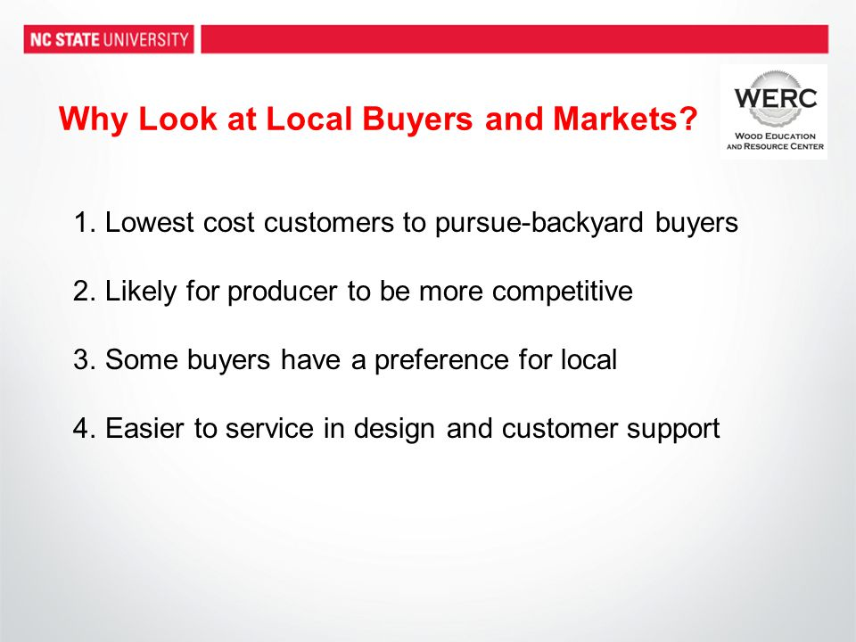 Why Look at Local Buyers and Markets.
