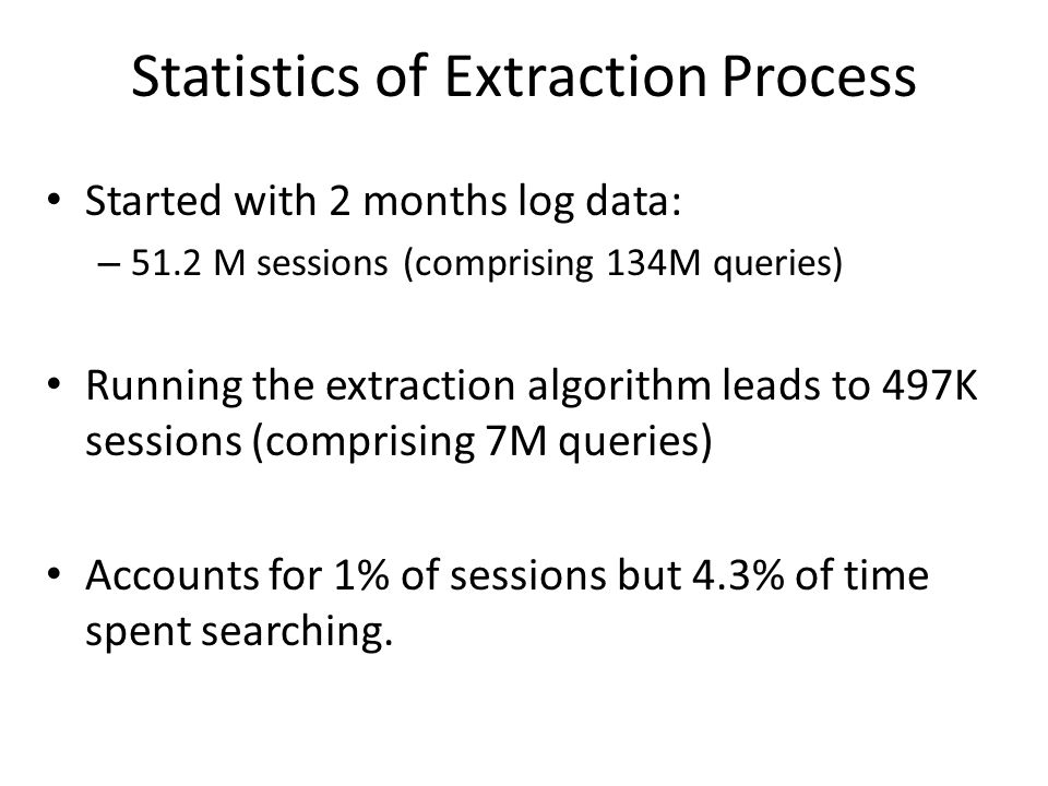 Statistics of Extraction Process Started with 2 months log data: – 51.2 M sessions (comprising 134M queries) Running the extraction algorithm leads to 497K sessions (comprising 7M queries) Accounts for 1% of sessions but 4.3% of time spent searching.