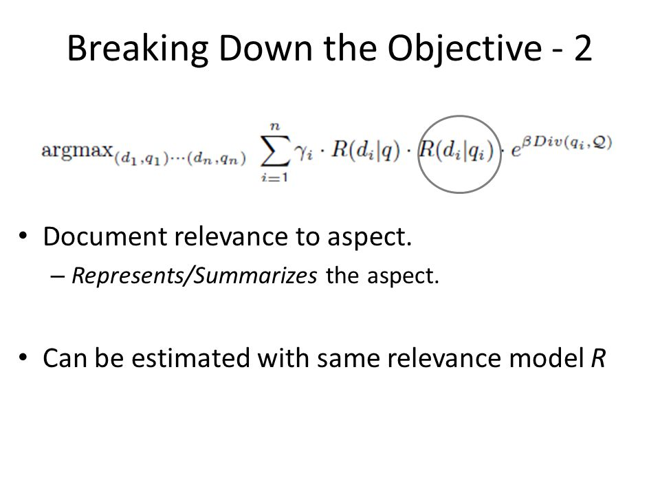 Breaking Down the Objective - 2 Document relevance to aspect.