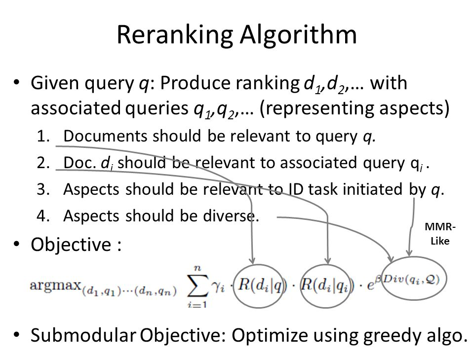Reranking Algorithm Given query q: Produce ranking d 1,d 2,… with associated queries q 1,q 2,… (representing aspects) 1.Documents should be relevant to query q.