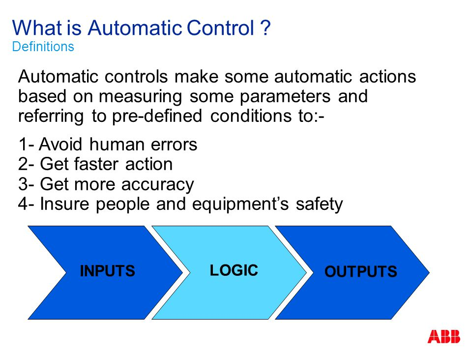 What is Automatic Control ? Definitions Automatic controls make some automatic actions based on measuring some parameters and referring to pre-defined