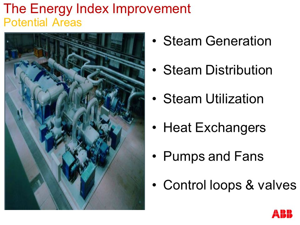 The Energy Index Improvement Potential Areas Steam Generation Steam Distribution Steam Utilization Heat Exchangers Pumps and Fans Control loops & valv