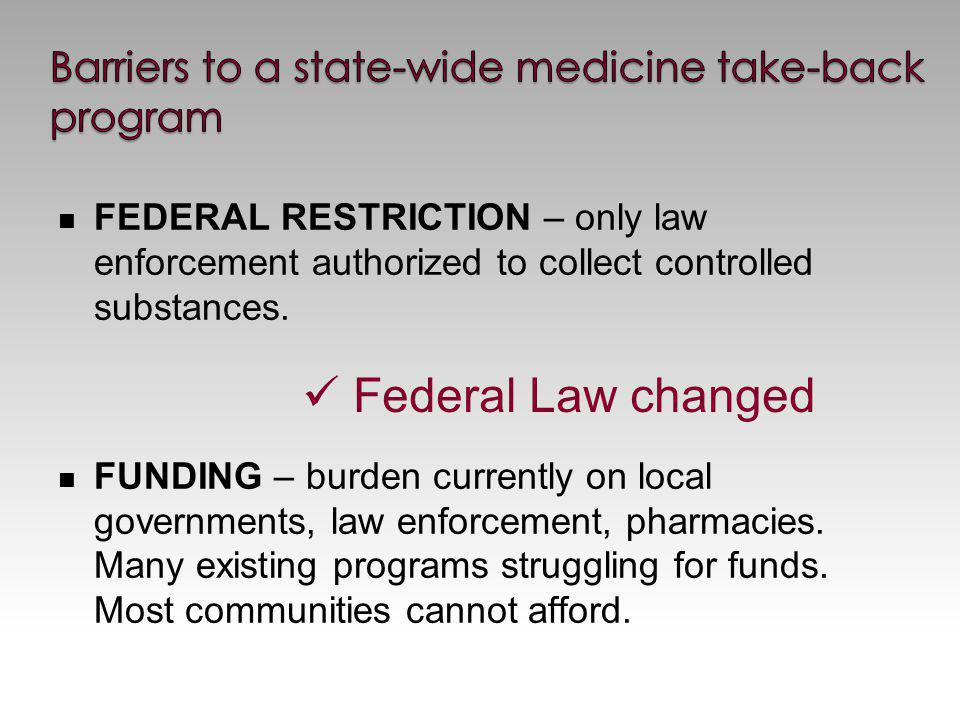 FEDERAL RESTRICTION – only law enforcement authorized to collect controlled substances.