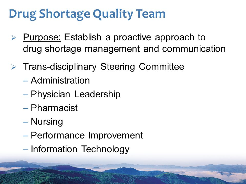 Drug Shortage Quality Team Purpose: Establish a proactive approach to drug shortage management and communication Trans-disciplinary Steering Committee –Administration –Physician Leadership –Pharmacist –Nursing –Performance Improvement –Information Technology