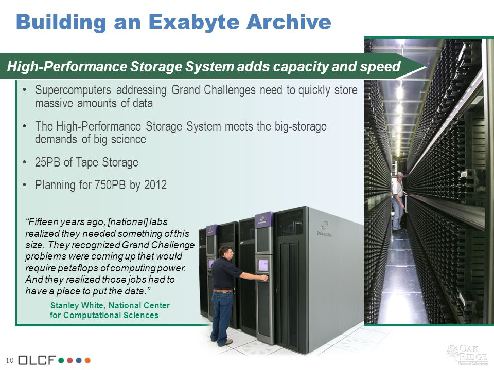 10 Building an Exabyte Archive Supercomputers addressing Grand Challenges need to quickly store massive amounts of data The High-Performance Storage System meets the big-storage demands of big science 25PB of Tape Storage Planning for 750PB by 2012 Stanley White, National Center for Computational Sciences High-Performance Storage System adds capacity and speed Fifteen years ago, [national] labs realized they needed something of this size.