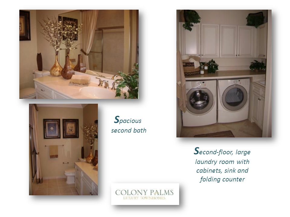 S econd-floor, large laundry room with cabinets, sink and folding counter S pacious second bath