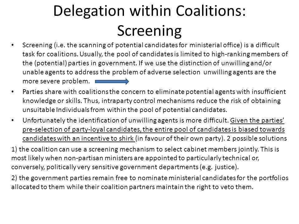 Delegation within Coalitions: Screening Screening (i.e.