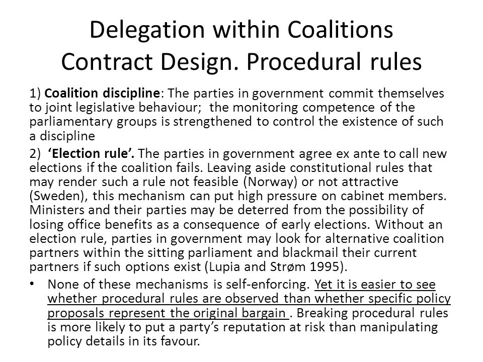 Delegation within Coalitions Contract Design.
