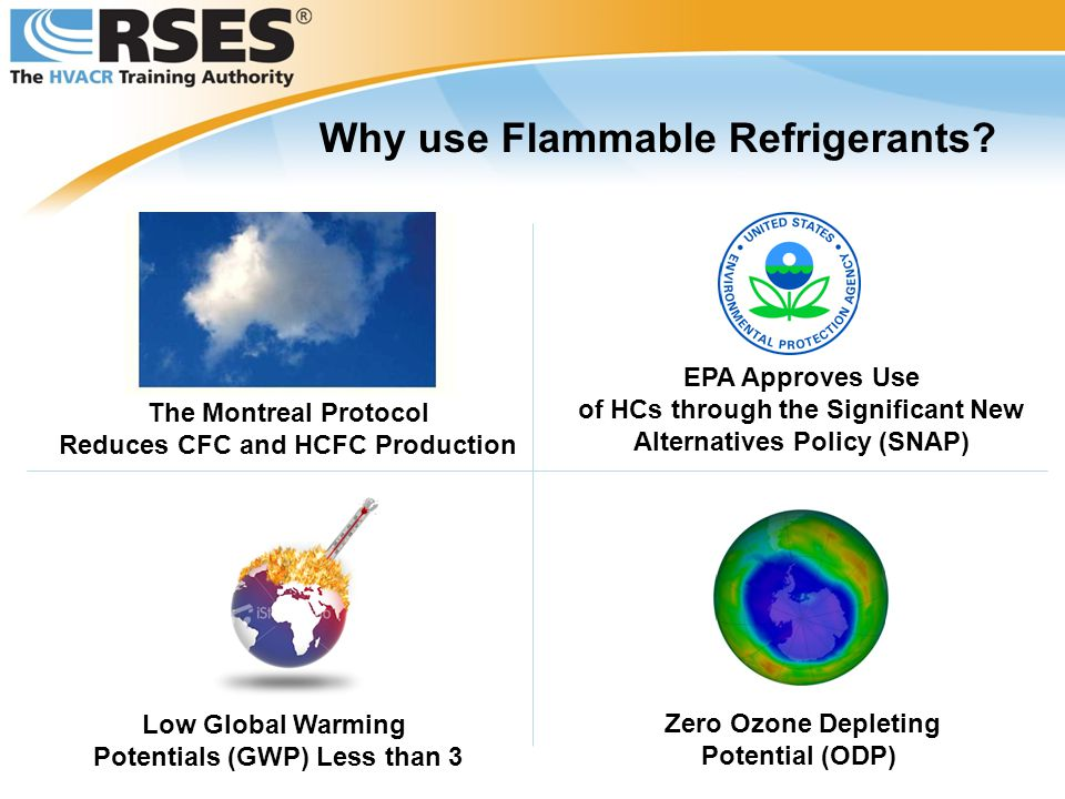 Why use Flammable Refrigerants? The Montreal Protocol Reduces CFC and HCFC Production EPA Approves Use of HCs through the Significant New Alternatives