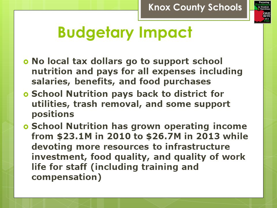 Budgetary Impact Knox County Schools No local tax dollars go to support school nutrition and pays for all expenses including salaries, benefits, and food purchases School Nutrition pays back to district for utilities, trash removal, and some support positions School Nutrition has grown operating income from $23.1M in 2010 to $26.7M in 2013 while devoting more resources to infrastructure investment, food quality, and quality of work life for staff (including training and compensation)