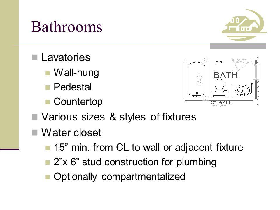 Bathrooms Lavatories Wall-hung Pedestal Countertop Various sizes & styles of fixtures Water closet 15 min.