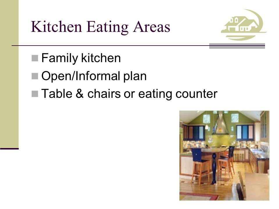 Kitchen Eating Areas Family kitchen Open/Informal plan Table & chairs or eating counter