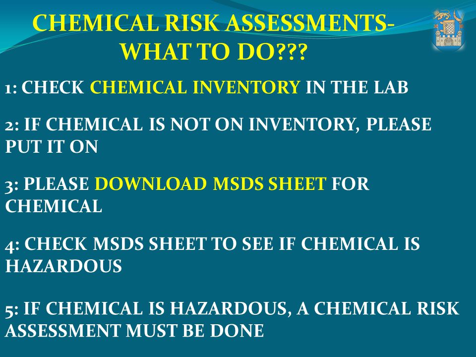 CHEMICAL RISK ASSESSMENTS- WHAT TO DO??? 1: CHECK CHEMICAL INVENTORY IN THE LAB 2: IF CHEMICAL IS NOT ON INVENTORY, PLEASE PUT IT ON 3: PLEASE DOWNLOA