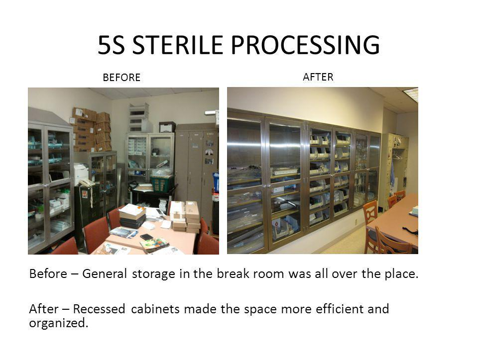 5S STERILE PROCESSING Before – General storage in the break room was all over the place. After – Recessed cabinets made the space more efficient and o