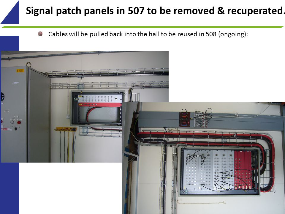 Signal patch panels in 507 to be removed & recuperated.