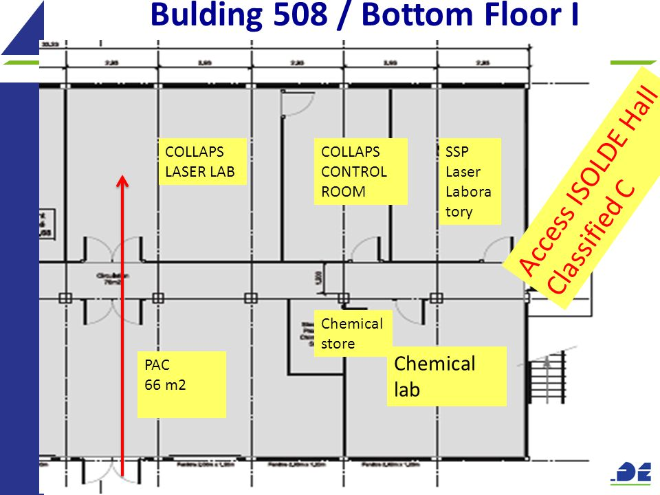 18 Bulding 508 / Bottom Floor I Chemical lab Chemical store PAC 66 m2 SSP Laser Labora tory COLLAPS CONTROL ROOM COLLAPS LASER LAB Access ISOLDE Hall