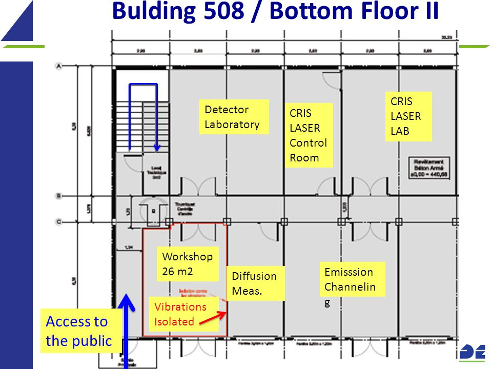19 Bulding 508 / Bottom Floor II Access to the public Workshop 26 m2 Vibrations Isolated Diffusion Meas.
