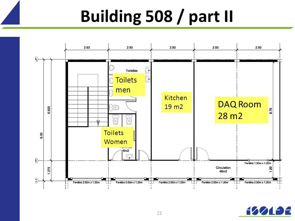 21 Building 508 / part II Toilets men Toilets Women Kitchen 19 m2 DAQ Room 28 m2