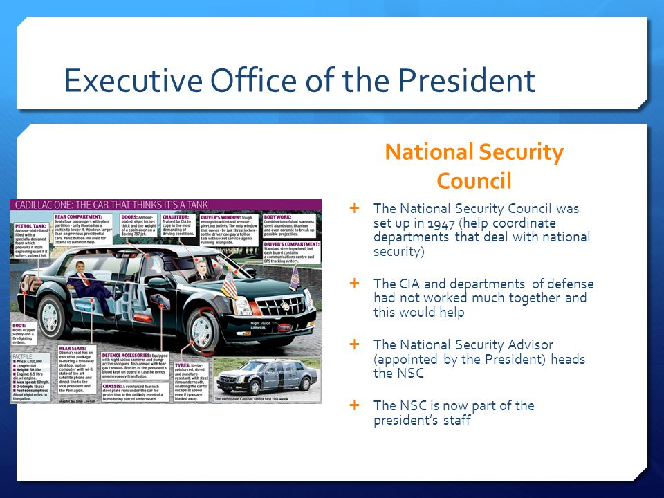 Executive Office of the President National Security Council The National Security Council was set up in 1947 (help coordinate departments that deal wi