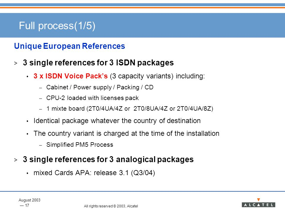 August 2003 17 All rights reserved © 2003, Alcatel Full process(1/5) Unique European References > 3 single references for 3 ISDN packages 3 x ISDN Voi