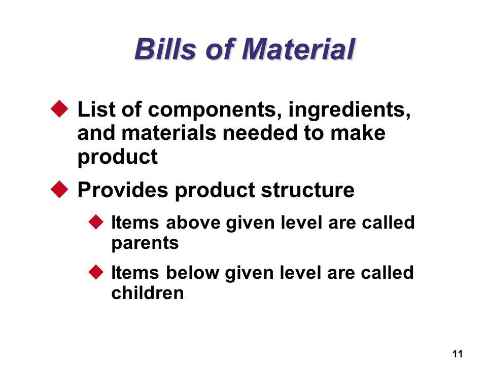 11 Bills of Material List of components, ingredients, and materials needed to make product Provides product structure Items above given level are call