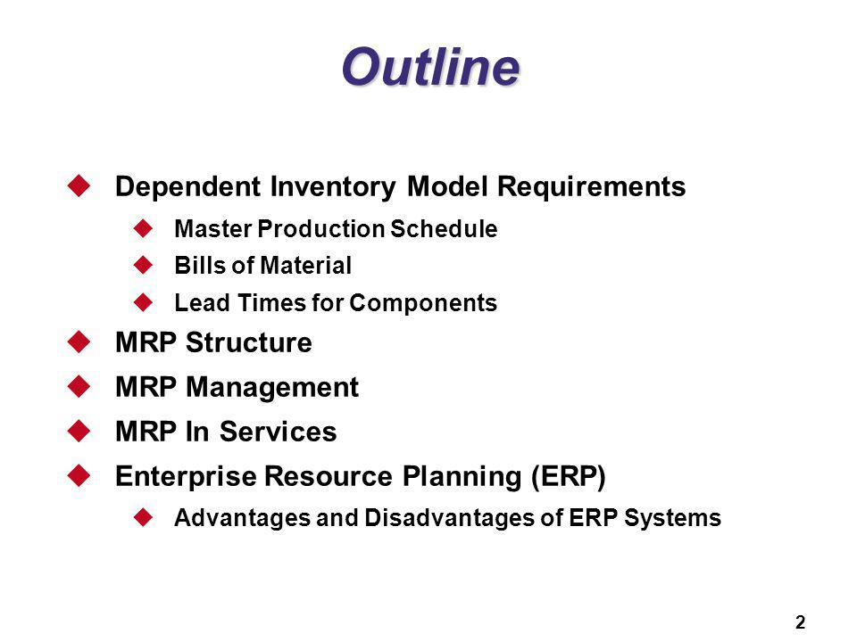 2 Outline Dependent Inventory Model Requirements Master Production Schedule Bills of Material Lead Times for Components MRP Structure MRP Management M