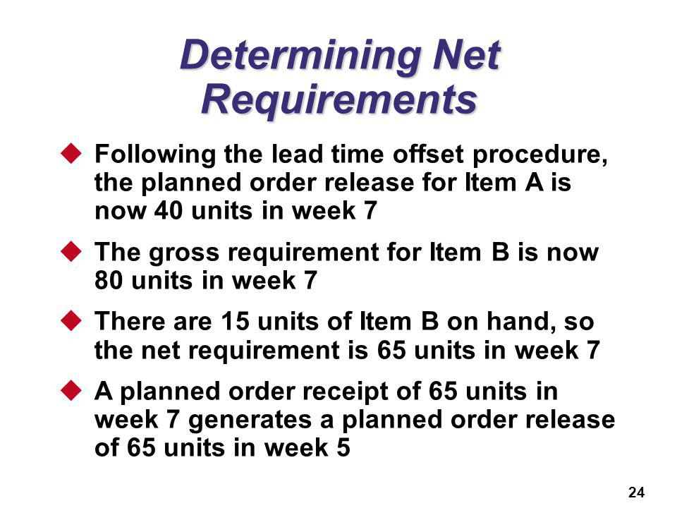 24 Determining Net Requirements Following the lead time offset procedure, the planned order release for Item A is now 40 units in week 7 The gross req