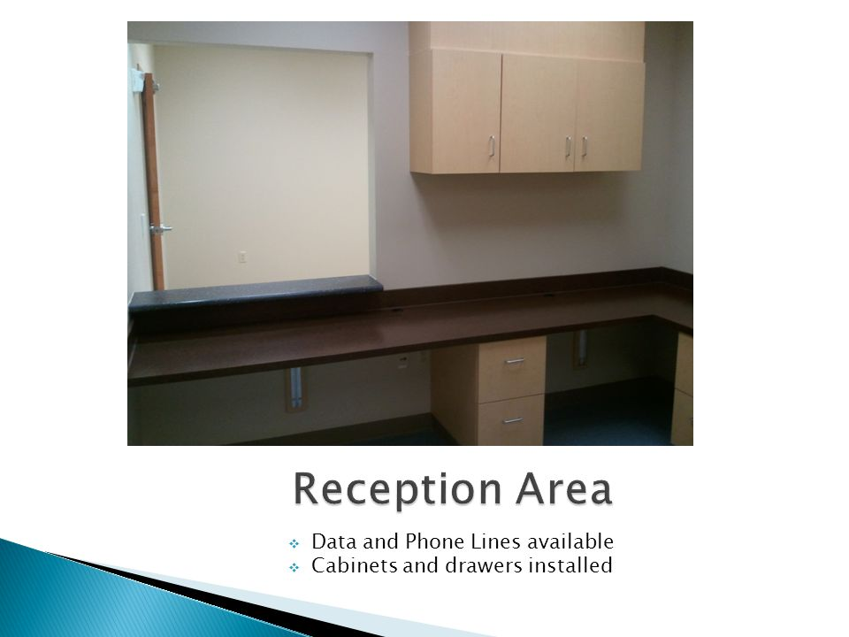 3-6 Exam Rooms Available Cabinet and Sinks are furnished 1-2 Procedure Rooms Available in various Suites Exam Rooms