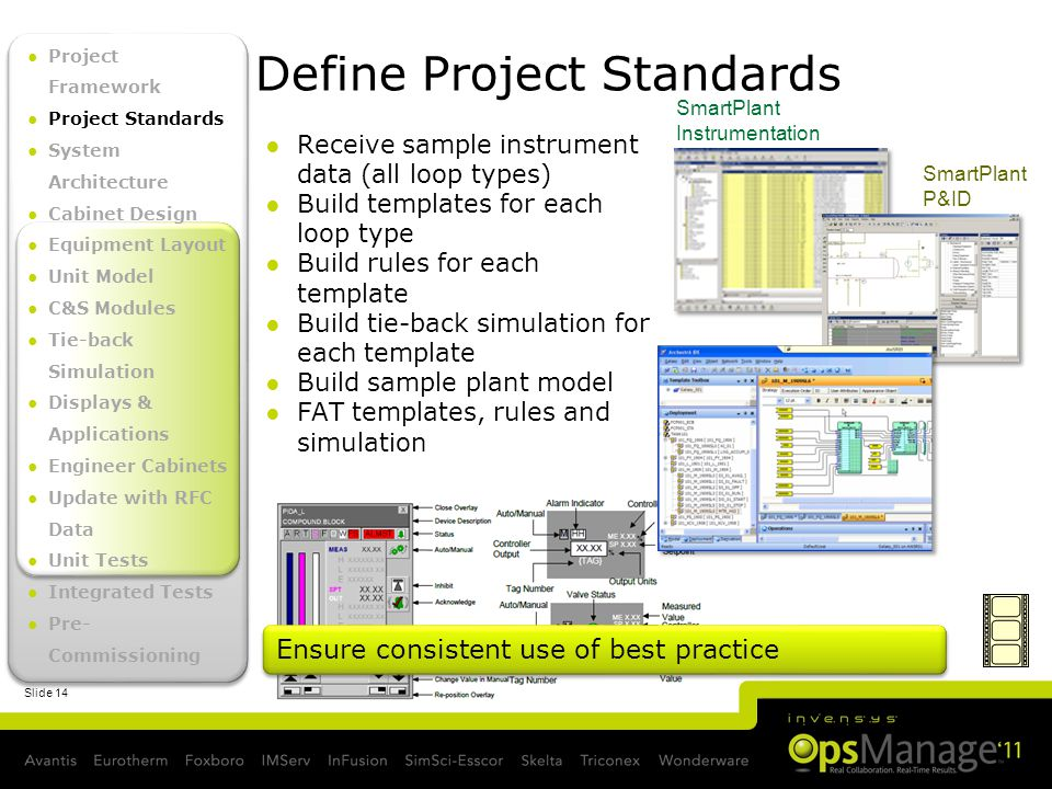 Slide 14 Define Project Standards SmartPlant P&ID SmartPlant Instrumentation Receive sample instrument data (all loop types) Build templates for each loop type Build rules for each template Build tie-back simulation for each template Build sample plant model FAT templates, rules and simulation Ensure consistent use of best practice Project Framework Project Standards System Architecture Cabinet Design Equipment Layout Unit Model C&S Modules Tie-back Simulation Displays & Applications Engineer Cabinets Update with RFC Data Unit Tests Integrated Tests Pre- Commissioning