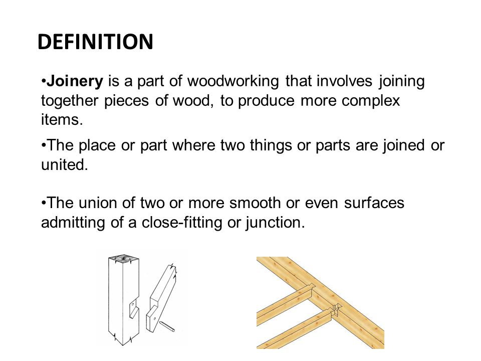 TYPES OF JOINT Halved Joints Bridled Joints Motice and Tenon Joints Wedge Mortice and Tenon Dove tail Joints Finger or Comb Joints Shoulder/Rebate/Lapped Joints