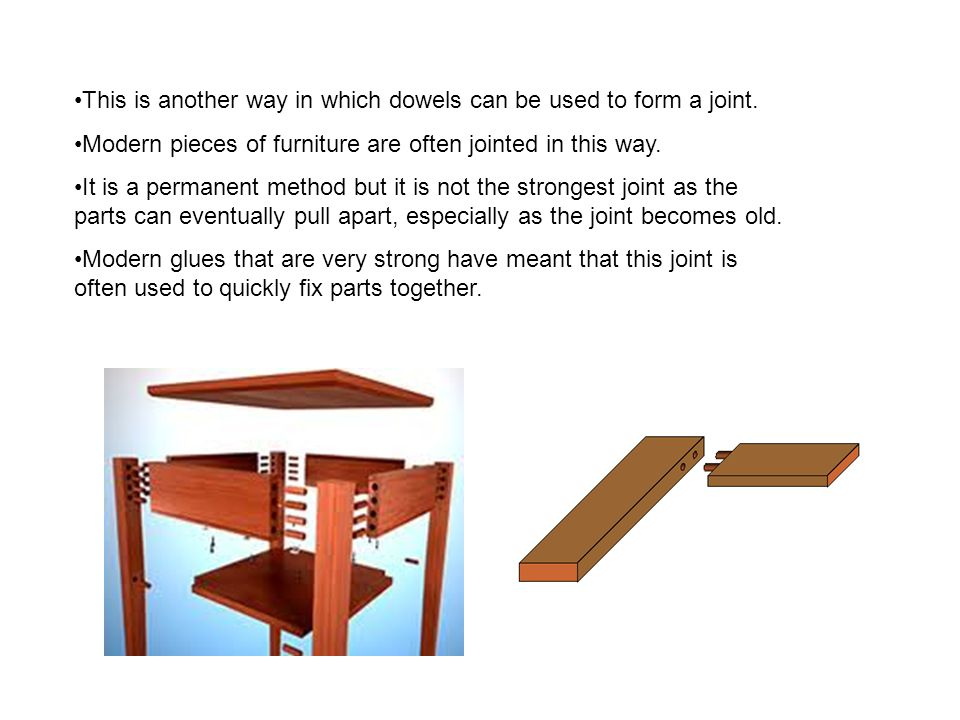This is another way in which dowels can be used to form a joint. Modern pieces of furniture are often jointed in this way. It is a permanent method bu
