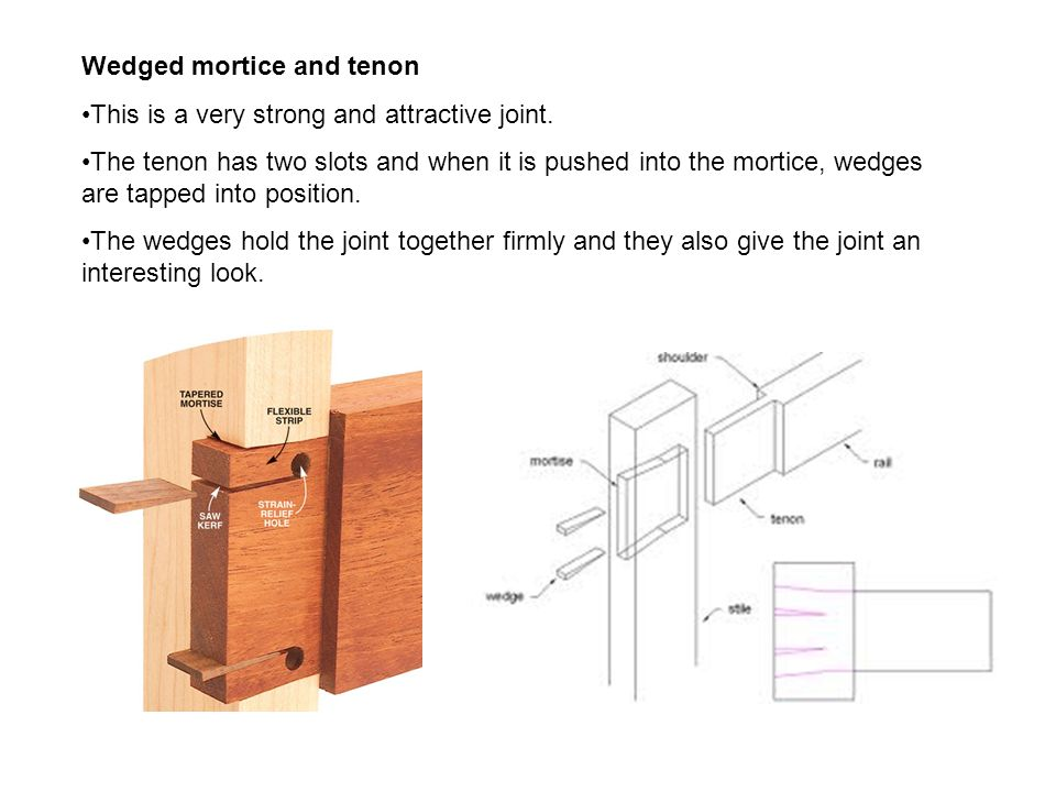 Wedged mortice and tenon This is a very strong and attractive joint. The tenon has two slots and when it is pushed into the mortice, wedges are tapped