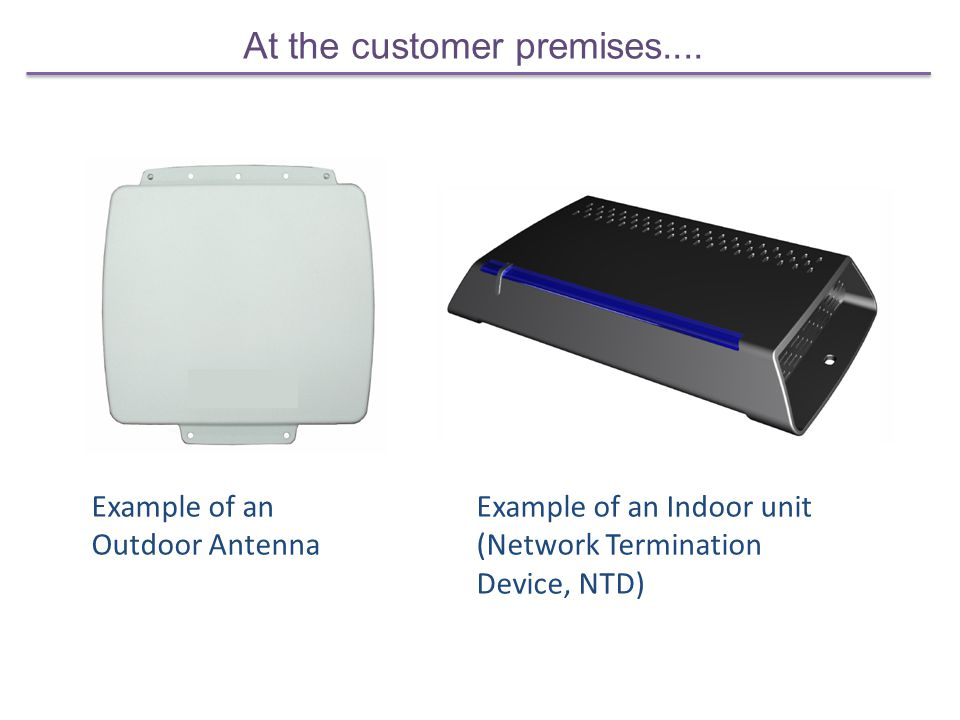 At the customer premises.... Example of an Outdoor Antenna Example of an Indoor unit (Network Termination Device, NTD)