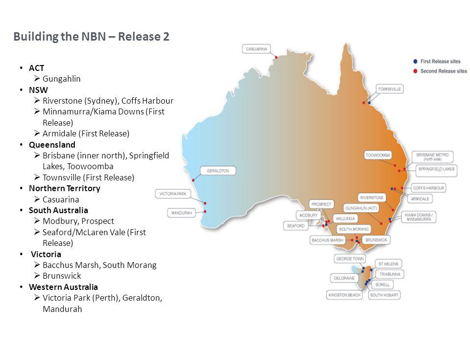 Building the NBN – Release 2 ACT Gungahlin NSW Riverstone (Sydney), Coffs Harbour Minnamurra/Kiama Downs (First Release) Armidale (First Release) Quee