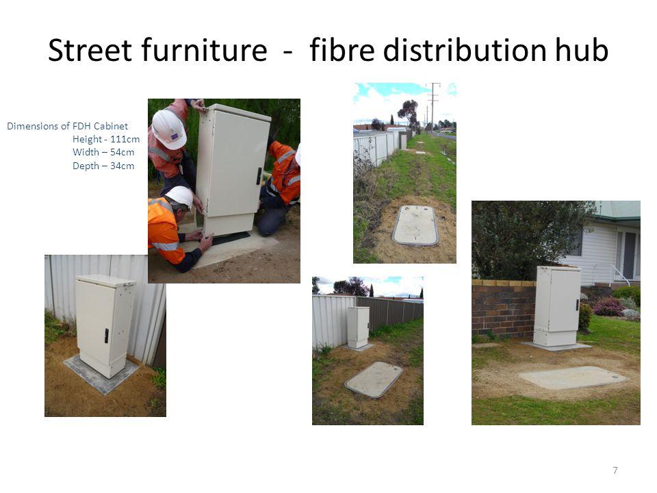 Street furniture - fibre distribution hub 7 Dimensions of FDH Cabinet Height - 111cm Width – 54cm Depth – 34cm