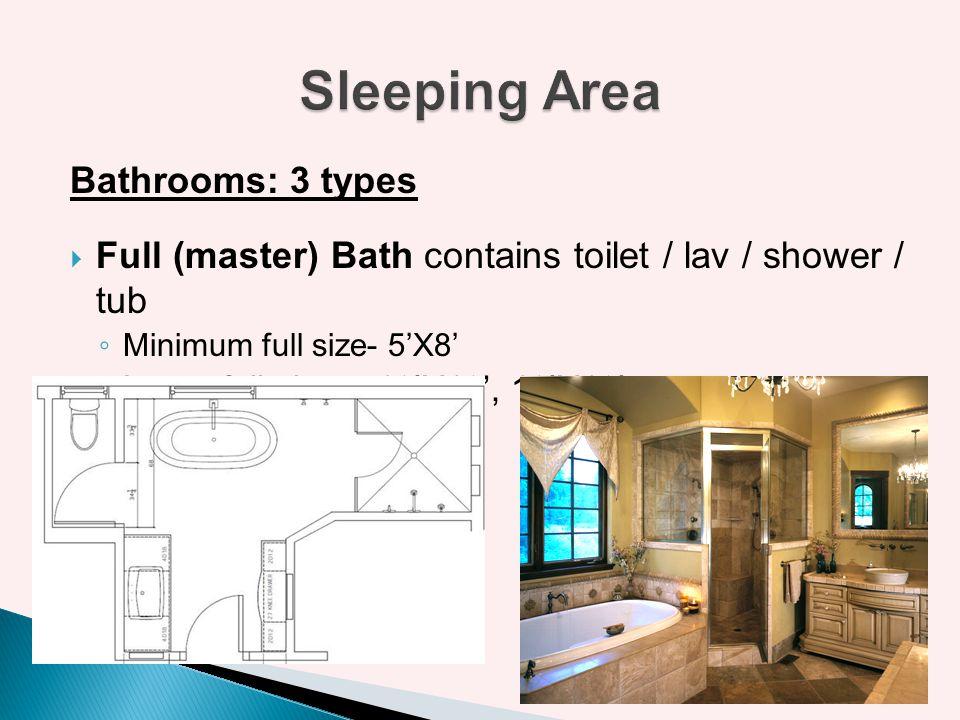 Bathrooms: 3 types Full (master) Bath contains toilet / lav / shower / tub Minimum full size- 5X8 Large full sizes- 10X10, 10X12